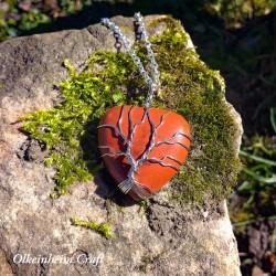 Cœur de vie en jaspe rouge